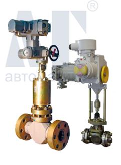 Клапан КВДР с электроприводом AUMA Norm(справа) и МЭПК(слева)